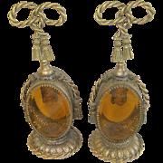 Vintage Vanity Perfume Bottles Gilded Metal Pair