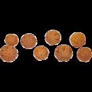 Vintage Bakelite Buttons Heavily Carved (8)