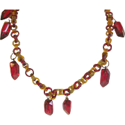 Bakelite Lucite Necklace Cherry Red/Honey Amber