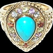 Vintage Sterling/Vermeil Ring Faux Stones