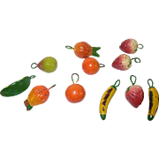 Vintage Paper Mache Pendants Fruits 11pcs