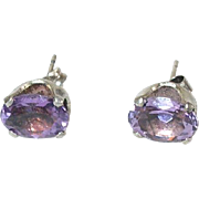 Vintage Sterling Amethyst Stud Earrings