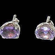 Vintage Sterling Amethyst Stud Earrings