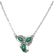 Vintage Sterling Malachite Drop Pendant Necklace