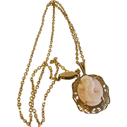 Vintage Gold Filled Necklace Cameo Pendant