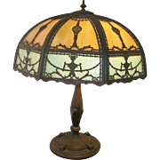 Vintage Slag Glass Bronze Table Lamp