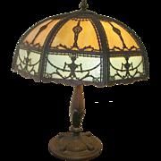 Vintage Slag Glass Bronze Table Lamp