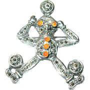 Vintage Sterling Character Brooch Pendant Carnelian/Marcasite
