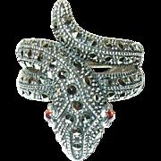Vintage Sterling Serpent Ring Marcasite/Garnets