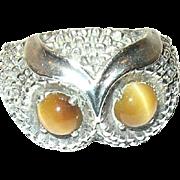 Vintage Sterling Owl Ring Tiger Eye