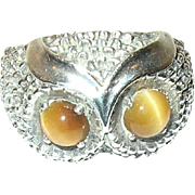 Vintage Sterling Owl Ring Tiger Eye