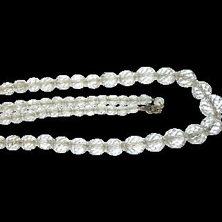 "Vintage Sterling Faceted Rock Crystal Bead Necklace 25"""