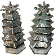 Vintage Sterling Salt/Pepper Shakers Oriental Pagodas