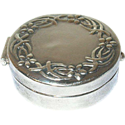 Vintage Sterling Pill Box Repousse Work