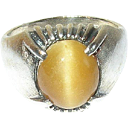 Vintage Sterling Yellow Tiger Eye Ring