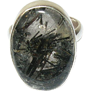 Vintage Sterling Moss Agate Ring