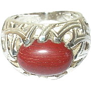 Vintage Sterling Coral Ring Openwork