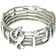 Vintage Sterling Ring Musical Notes
