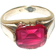 Vintage Gold Filled Faux Ruby Ring
