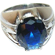 Vintage Sterling Ring Faux Sapphire Faux Diamond