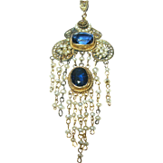 Antique 9K Pendant Faux Sapphire Salt Water Pearl Teardrop