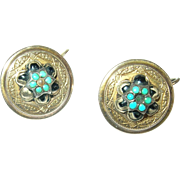 Antique 14K Turquoise Earrings