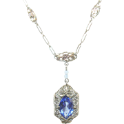 Edwardian 14K White/Yellow Gold Necklace Sapphire Pendant