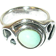 Vintage Sterling Turquoise Ring Modernist Design