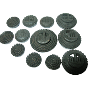 Gutta Percha Button Set of 12pcs 1860's-1870's