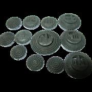 Gutta Percha Button Set of 12pcs 1860's-1870's