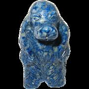 Vintage Miniature Carving Dog Blue Natural Stone