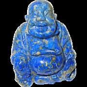 Vintage Miniature Carved Buddha Natural Blue Stone
