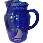 Depression Glass Cobalt Blue Lg Pitcher Sailboat Design