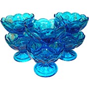 Vintage Elegant Glass Blue Footed Sherbets Set 6Pcs