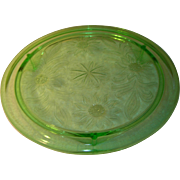 Depression Glass Cake Plate Green Sunflower