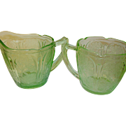 Depression Glass Green Sugar/Creamer Cherry Blossom