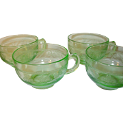 Depression Glass Green 4 Cups Shamrock Pattern