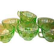 Depression Glass Green Cups Federal Glass Co 7pcs