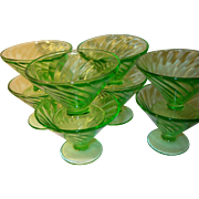 Depression Glass Green Footed Sherbets Set