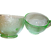 Depression Glass Cups Green Pressed pattern 2pcs