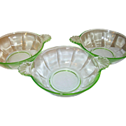 Depression Glass Green 3 Bowls