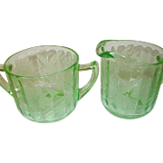 Depression Glass Green Sugar/Creamer Poinsettia Pattern