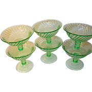 Depression Glass Green Footed Sherbet 6Pcs