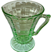Depression Glass Green Footed Cream Pitcher