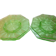 Depression Glass Green Luncheon Plate 6 Pc Set