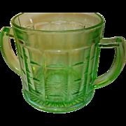 Depression Glass Green Sugar Bowl