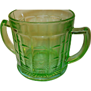 Depression Glass Green Sugar Bowl