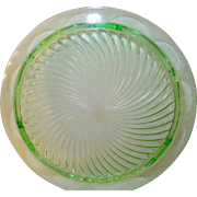 Depression Glass Green Cake Plate