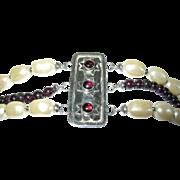 Vintage Bracelet Sterling Garnet Faux Baroque Pearls