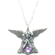 Vintage Sterling Necklace Pendant Angel Design